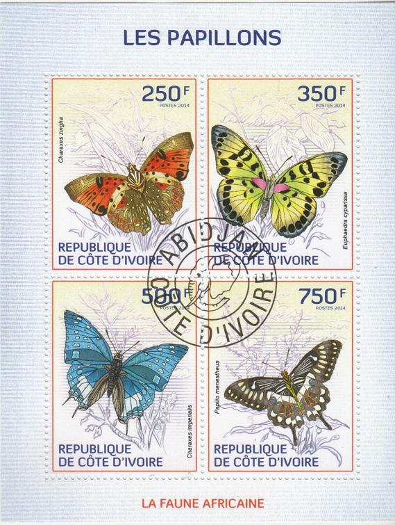 Ivory Coast  Butterflies  4v  Sheetlet  cto Used  75312