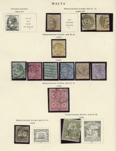 MALTA FANTASTIC LOT OF USED STAMPS ON ALBUM PAGES--SCOTT VALUE OVER $1000.00