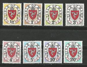 Great Britain-Isle Man # J1a-J8a  Dues, 1973 a re-issue  (8) Mint NH