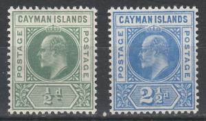 CAYMAN ISLANDS 1905 KEVII 1/2D AND 21/2D WMK MULT CROWN CA