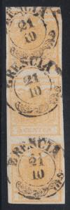 Lombardy-Venetia Sc 1b used. 1850 5c yellow strip of 3, BRESCIA cancels, signed
