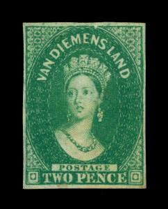 TASMANIA 1855 Queen Victoria  2p dark green Scott # 5 ( SG15) UNUSED XF