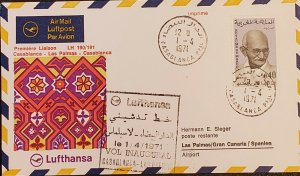 Morocco Gandhi 1971 Lufthsnsa Casablanca To Las Palmas Spain Flight