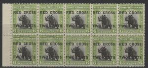NORTH BORNEO SG221 1918 6c+2c OLIVE-GREEN MNH BLOCK OF 10
