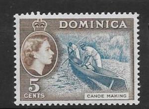 DOMINICA SG147 1957 5c LIGHT BLUE & SEPIA BROWN MTD MINT