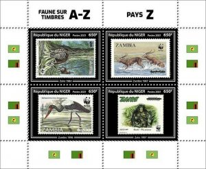 Niger 2021 MNH Stamps-on-Stamps Stamps Countries Z Wild Animals Birds WWF 4v M/S