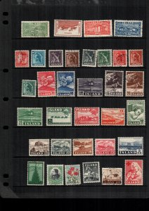 Iceland  33  diff used and mint lot collection