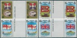 Tristan Da Cunha 1985 SG395-398 Flags gutter pairs set  MNH