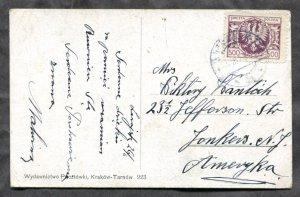 d724 - POLAND Lezajsk 1925 Postcard to USA