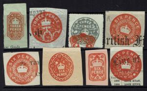 Great Britain - Embossed Revenue - 8 Older Issues (Few w/ Pinholes) - 090415