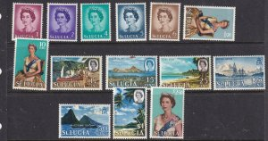 ST LUCIA # 182-195 VF-MLH QE11 ISSUES TO $2.50 CAT VALUE $17+