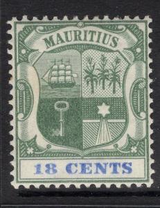 MAURITIUS SG132 1897 18c GREEN & ULTRAMARINE MTD MINT