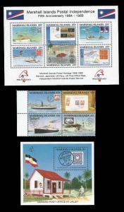 Marshall Islands 1989 Postal History 4 Stamp Block + 2 S/S  13P-055