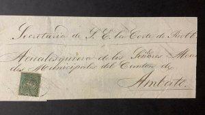 L) 1890 ECUADOR, 1 REAL, GREEN, COAT OF ARMS, TO AMBATO, XF