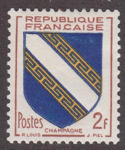 France 698 Hinged 1953 Arms of Champagne
