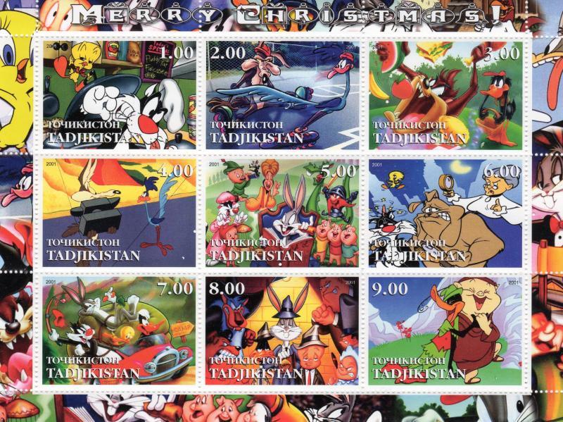 Tajikistan 2001 MERRY CHRISTMAS LOONEY TUNES CARTOONS Sheetlet (9) MNH