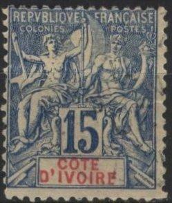 Ivory Coast 7 (used) 15c navigation & commerce, blue on quadrille paper