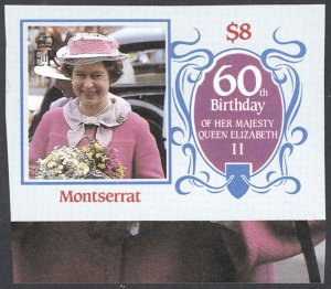 Montserrat Sc# 604 (stamp only) MNH IMPERF 1986 $8 Queen Elizabeth II 60th