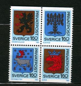 J23092 JLstamps 1984 sweden set mnh #1492-5 arms