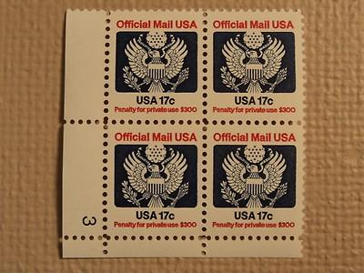 USPS Scott O130 17c Official Mail USA 1983 Mint NH Plate ...