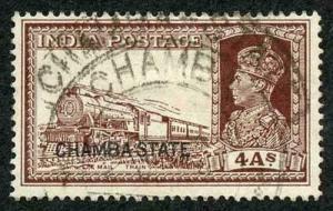 CHAMBA STATE SG90 KGVI 4a brown Fine Used (genuine postmark)