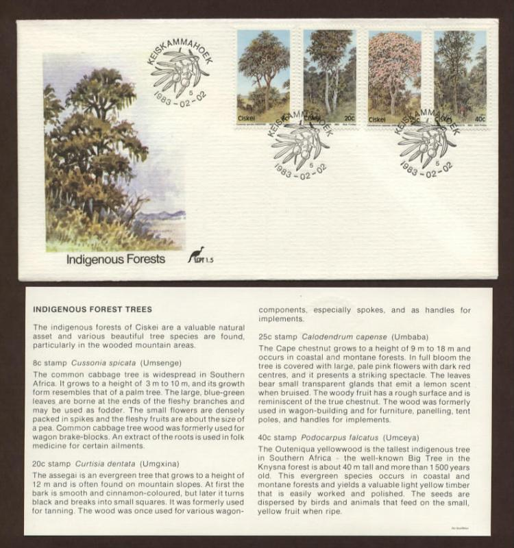 RSA Ciskei # 46 - # 49 , Indigenous Forest Trees FDC