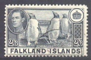 Falkland Is Scott 93 - SG160, 1938 George VI 2/6d used