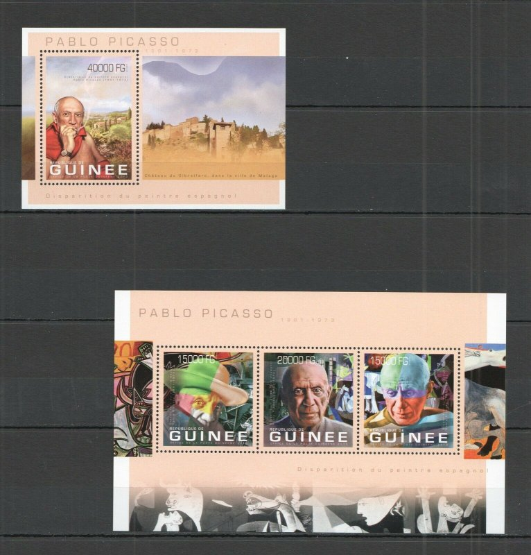 ST1406 2013 GUINEA ART PAINTINGS FAMOUS PEOPLE PICASSO KB+BL MNH STAMPS