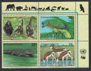 UN New York Birds Chimpanzee Amazon Crocodile Gazelles Top Right block of 4