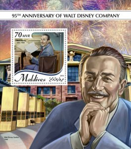 Maldives Walt Disney Stamps 2018 MNH Famous People Cartoons 1v S/S