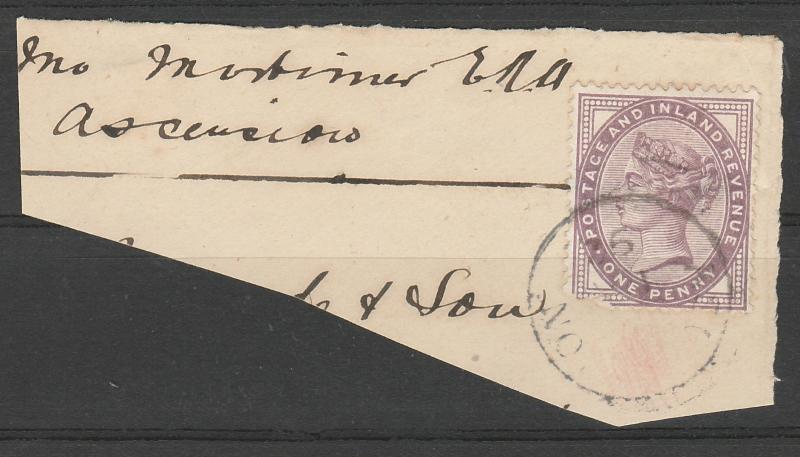 ASCENSION 1892 QV GREAT BRITAIN 1D WITH ASCENSION POSTMARK