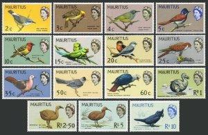 Mauritius 276-290, MNH. Mi 268-282. Birds 1965. White-eye, Flycatcher, Parrot,