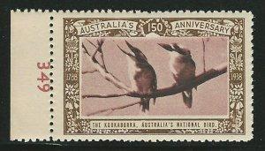 Kookabura Birds, Australia, 1938 Poster Stamp, Cinderella Label
