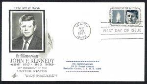U.S.A. Sc#1246 John F. Kennedy Boston MASS. Art Craft (1964) FDC