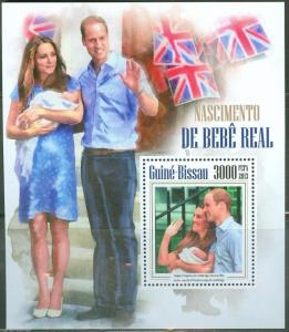 GUINEA BISSAU  BIRTH OF PRINCE GEORGE S/S WITH KATE AND PRINCE WILLIAM MINT NH