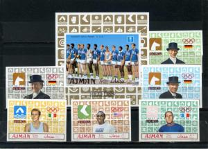 AJMAN 1969 SUMMER OLYMPIC GAMES MEXICO/GOLD MEDALS SET OF 6 STAMPS & S/S IMP.MNH