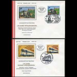 AUSTRIA 1988 - FDC - 1423-4 Trains Set of 2