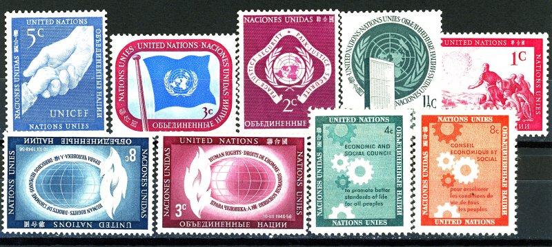 UNITED NATIONS #1-5, 47-48, 65-66 SET OF 9 MINT NH