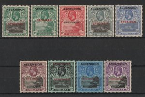 ASCENSION : 1922 KGV Pictorial set SPECIMEN. 6 with CERTIFICATE.