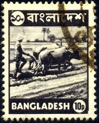 Farmer Plowing With Ox Team, Bangladesh stamp SC#96 used