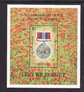Kiribati-Sc#668-Unused NH sheet-WWII End-Medals-1995-