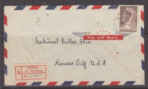 CURACAO, 1947 Registered Airmail cover, 27 1/2c, St. NICOLAAS to Kansas City,USA