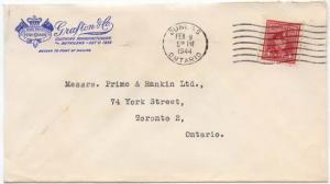 Canada #254 4c Carmine KGVI Tied By Dundas/Ontario/FEB 9/1944 Machine Cancel