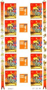New Caledonia 1997 Year of the Ox-Hong Kong 5 Gutter-Pairs Imperforated mnh.vf