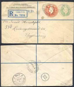 ESC681 KEVII 1/2d yellow Green and 4d Stamped to Order Registered Envelope Used