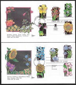 UNITED STATES FDCs (10) 29¢ Flowers Complete set 1992 Gill Craft