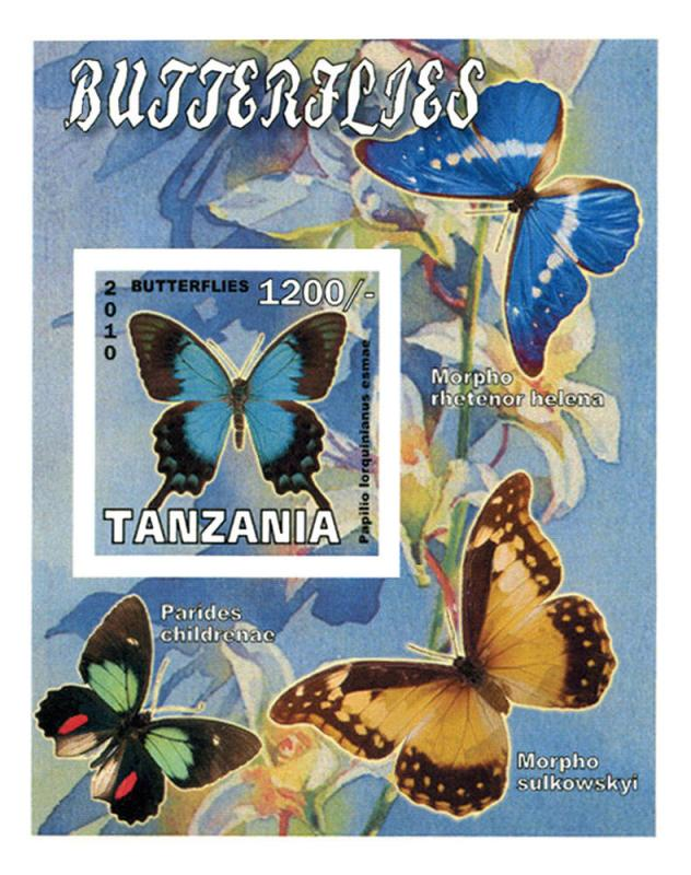 TANZANIA SHEET IMPERF BUTTERFLIES INSECTS