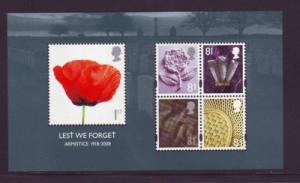 Great Britain Sc 2614a 2008 Armistice stamp sheet mint NH