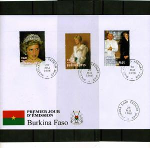 Burkina Faso 1998 Pope John Paul II-Princess Diana Set (3) Perforated in FDC