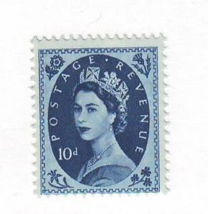 Great Britain Sc 329 1956 10d blue QE II stamp mint